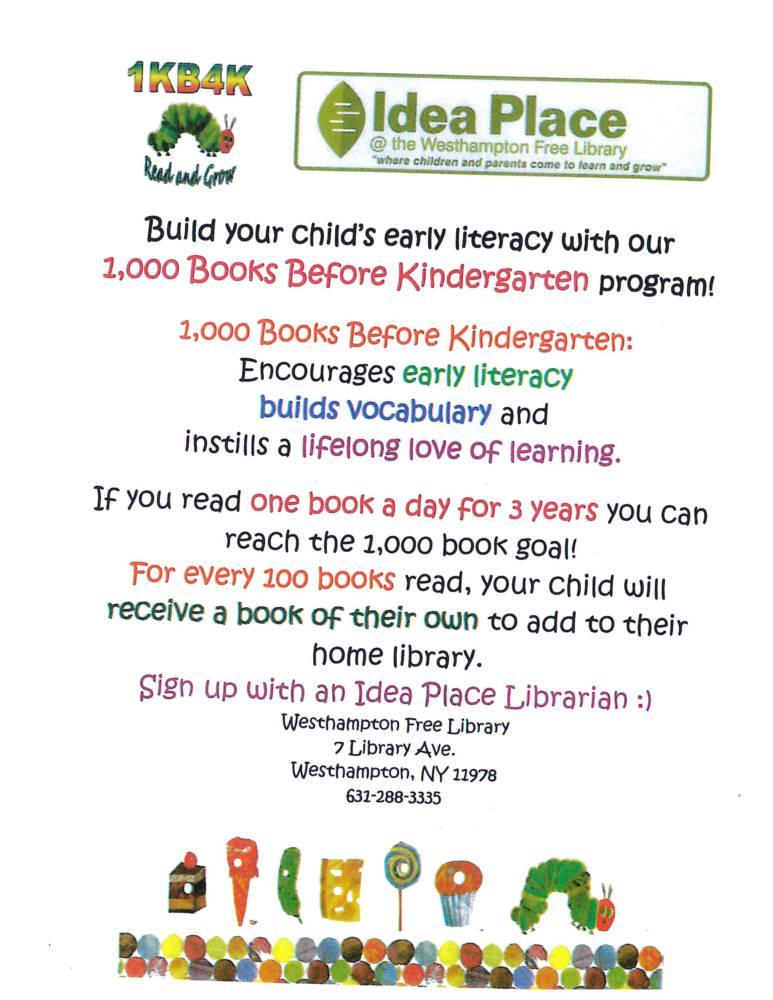 1,000 Books Before Kindergarten | Westhampton Free Library